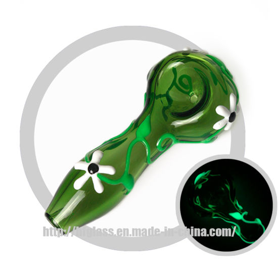 Colorful Flower Design Glow In The Dark, Glow In The Dark Glass Hand Pipes