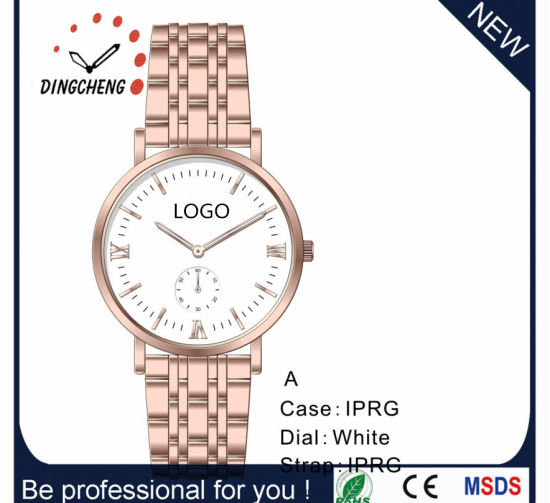 Promotion Waterproof Ladies Quartz Men′s Leather Gift Watch (DC-7823) pictures & photos