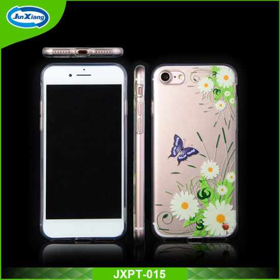 china oem uv printing customized design clear soft tpu case for