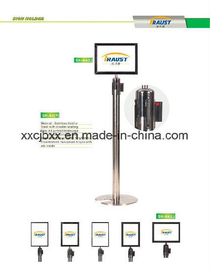 Stainless Steel Post Top Sign Holder for Retractable-Belt Barrier