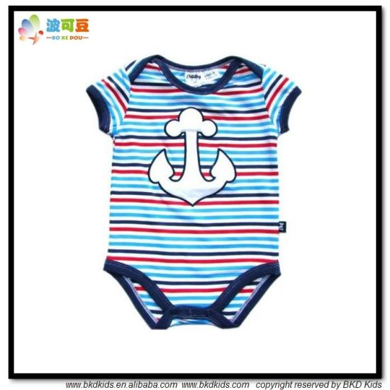 Combed Cotton Baby Apparel Stripe Printing Baby Bodysuit