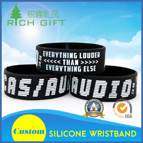 Black Cool Custom Design Fashion Silicone Wristband Rubber Bracelet and Factory Price No Minimum pictures & photos