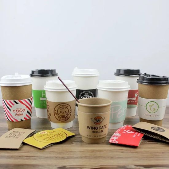 Custom Printed Disposable Eco-Friend Double Wall Paper Cups Coffee Sleeves Wholesale pictures & photos