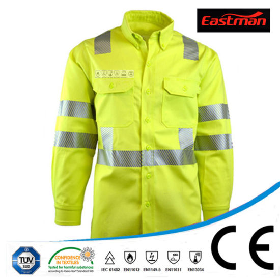 En20471 En11611 CVC Flame Retardant High Vis Yellow Reflective Work Shirt
