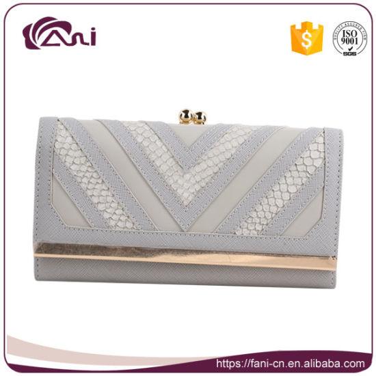 China Grey Black Fashion Pu Leather Lady Double Frame Wallet China