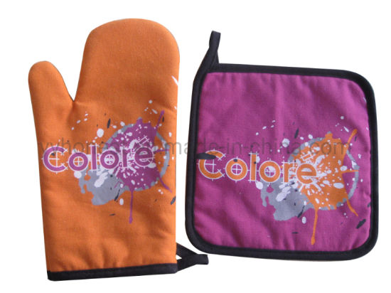 Customized Logo Print Fabric Oven Mitts and Pot Holders