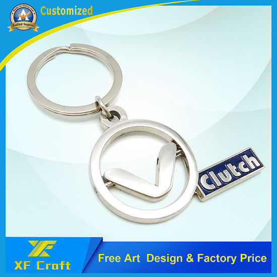 Customized Souvenir Metal Zinc Alloy Key Chain Rotatable Circle Soft Hard Enamel Engraved Craft Logo Silver Plated Key Holder for Promotion (KC05)