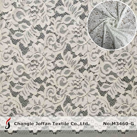 Jacquard Cord Bridal Lace Fabric Embroidery Cotton Lace (M3460-G) pictures & photos
