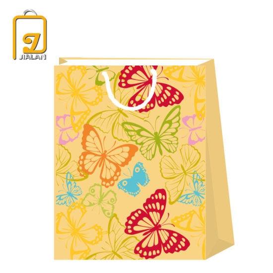 2020 BSCI Butterfly Design Brown Kraft Gift Paper Bags