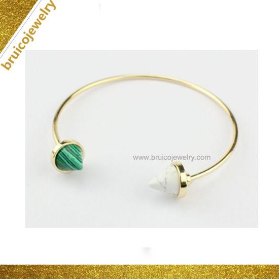 2019 Wholesale Fashion Accessories Jewelry Open Cuff 925 Sterling Silver Gemstone Bracelet Bangle