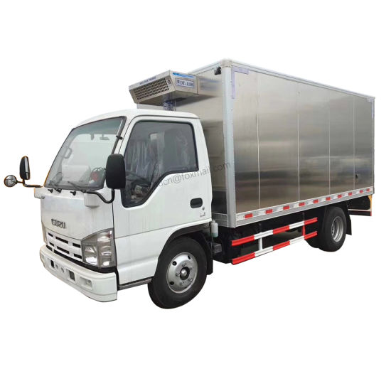 Good Quality Japan Brand Isuzu 100p Small Mini 3tons 5 Tons Vegetable Meat Transport Aluminum Refrigerated Truck Body