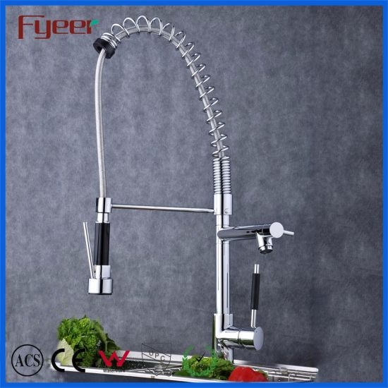 China Spring Loaded Kitchen Sink Mixer Tap Faucets 3 Way Long Neck