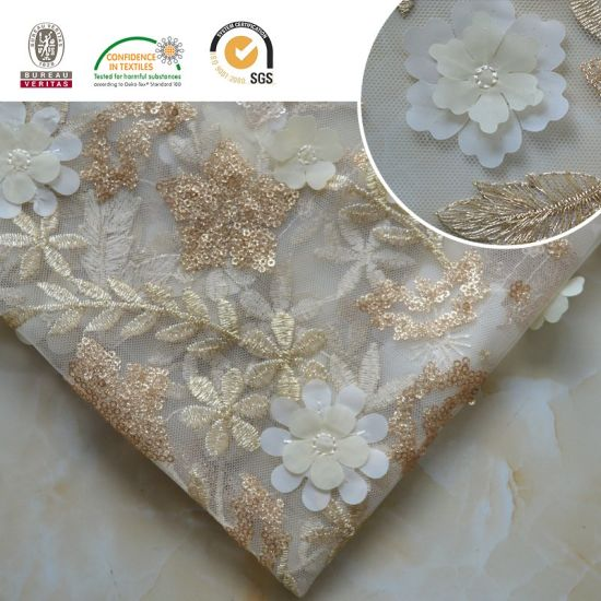 High Qlty Embroidery Lace Fabric with Shine Sequin+Beads Wedding/Full Dress/ Lady/ High Fashion 005