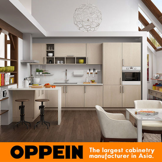 Oppein Modern Light Wood Grain U Shaped Kitchen Furniture (OP16-M07) pictures & photos