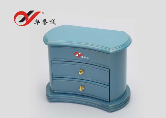 Blue Color 3 Layers Wooden Jewelry Case pictures & photos