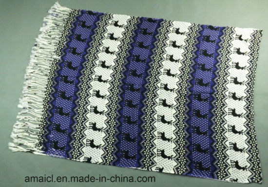 Multiple Colours Stripe Printed Machine Flat Bed Printed Acrylic Shawl (ABF22004014) pictures & photos