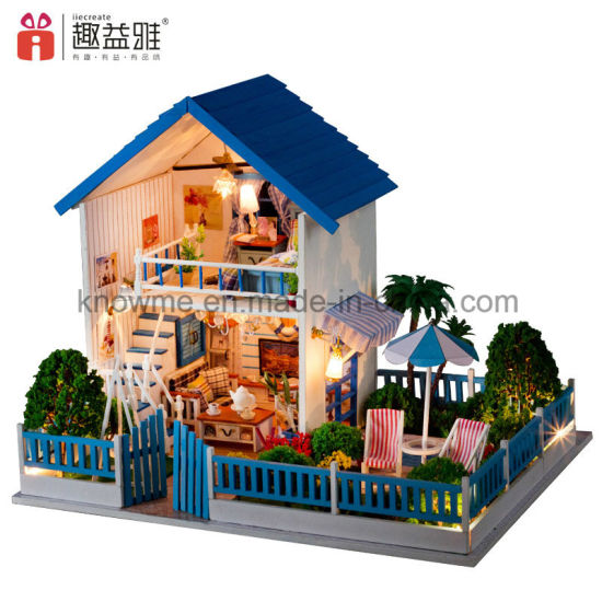 Large Cute Wooden Toy Diy Miniature Doll House With Furniture