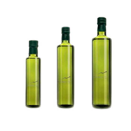 Classic Green Glass Dorica Oil Bottle in Round Shape