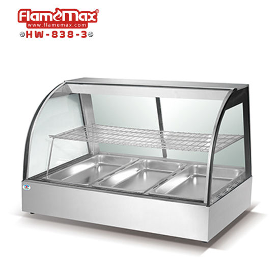 Food Warmer Showcase/Curved Glass Warming Displayer /Stainless Steel Warmer Hw-838-3