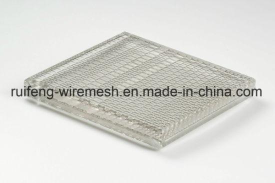 China Partition Wall Decoration Laminated Glass Metal Mesh Screen ...
