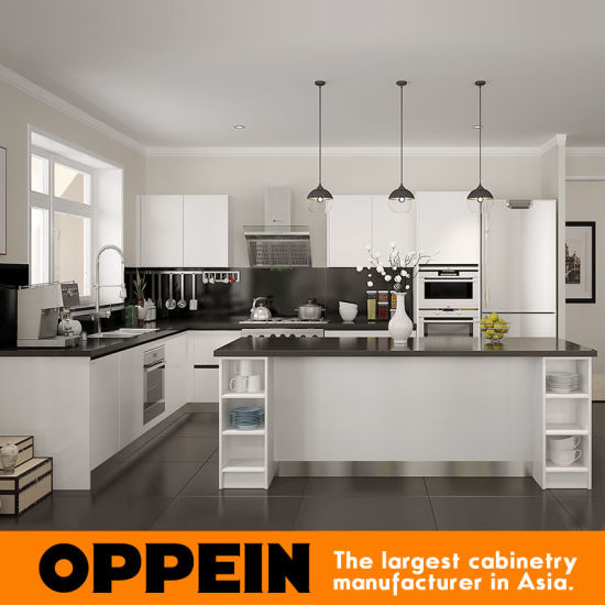 Oppein Australia White Lacquer Wood Kitchen Cabinet For Villa Op15 L28