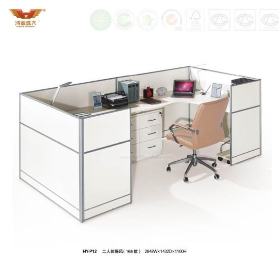 Double Warm White Color Rectangular Desk Short Wall Workstation Hy P12