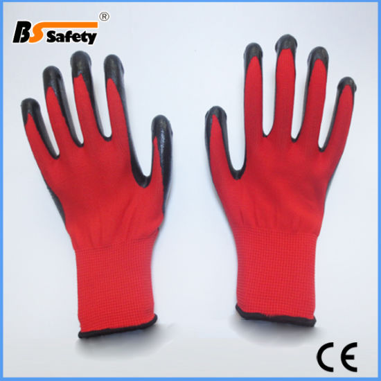 White Gray Red Black Color Nitrile Coated Work Labor Safety Gloves
