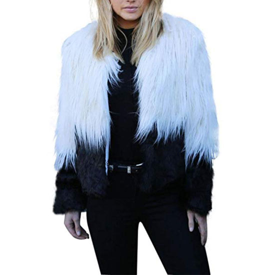 Customized Clothing Factory 2018 Women′s Winter Parka Two Tone Shaggy Faux Fur Coats pictures & photos