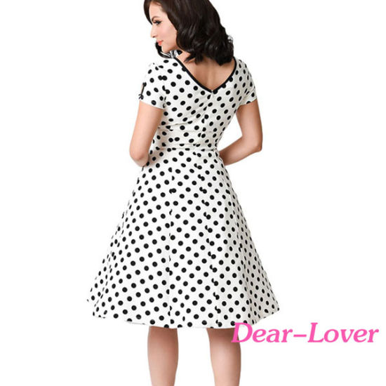Black & White Dotted Cap Sleeve Swing Dress pictures & photos