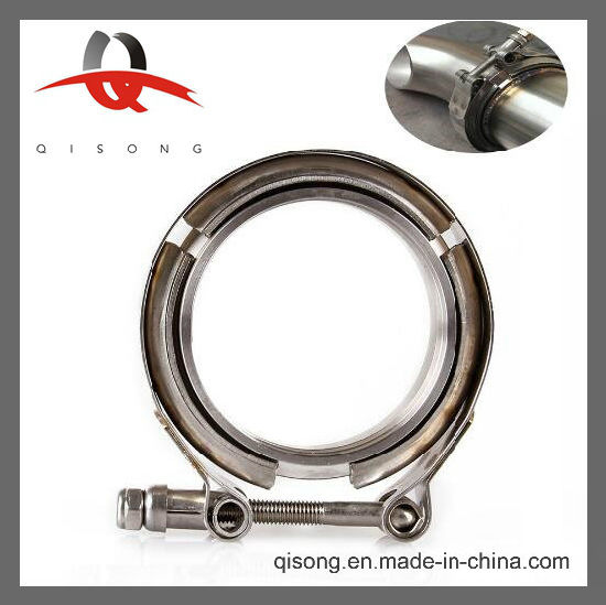 [Qisong] Universal 2 75 Stainless Steel V-Band Turbo Downpipe Exhaust Clamp  Vband 76mm