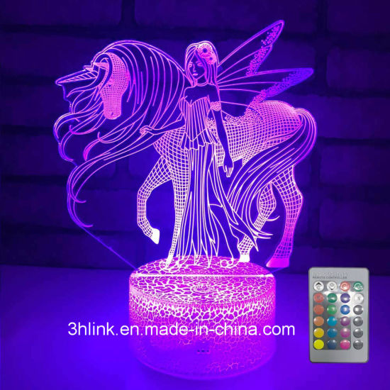China 2019 3D Unicorn and Girl Lamp for Birthday Gift