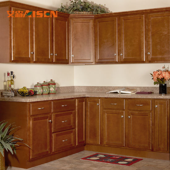 Simple Straight Style Canada Project Solid Wood Kitchen Cabinet From China