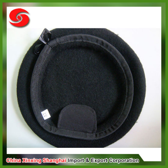 c2faf7fe China 100% Wool Genuine Leather Band Fabric Lining Berets - China ...