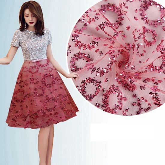 100% Polyester Non Woven Red Lace Dress Fabric pictures & photos