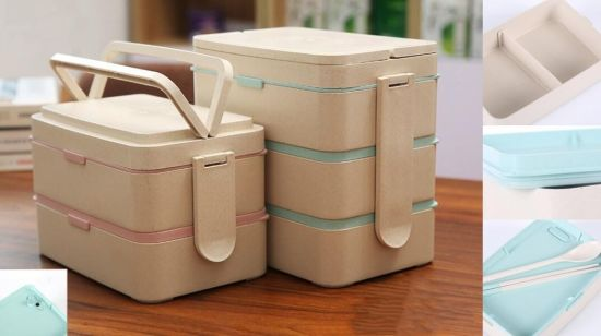 3 Layers Wheat Straw Lunch Box Containers, Leak Proof Bento Box (Green) /Plastic Lunch Box