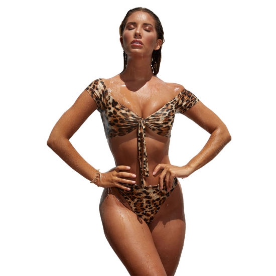 Two Pieces Swimwear Beach Wear New Fashion Sexy Leopard Printed Bikini with Sleeves pictures & photos