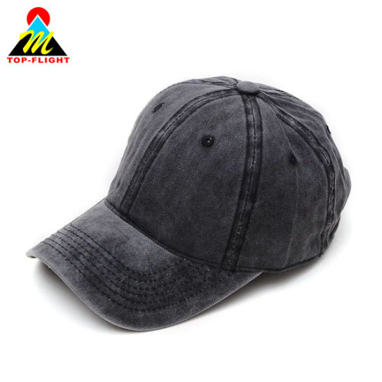 Plain Washed Denim with Top Stitching Basic Style Baseball Cap/Dad Hat pictures & photos