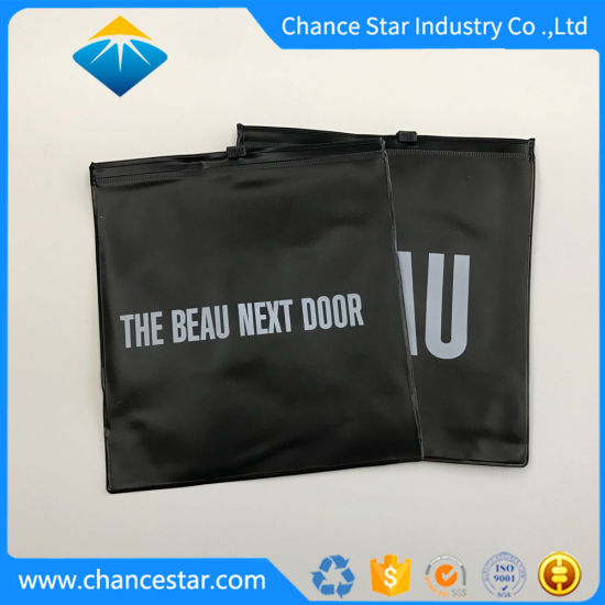 Custom Recyclable Matte Black Plastic White Print PVC Ziplock Bag