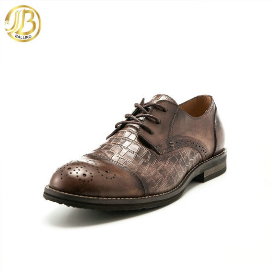 New Design Lace up Fashion Genuine Man Leather Dress Shoes