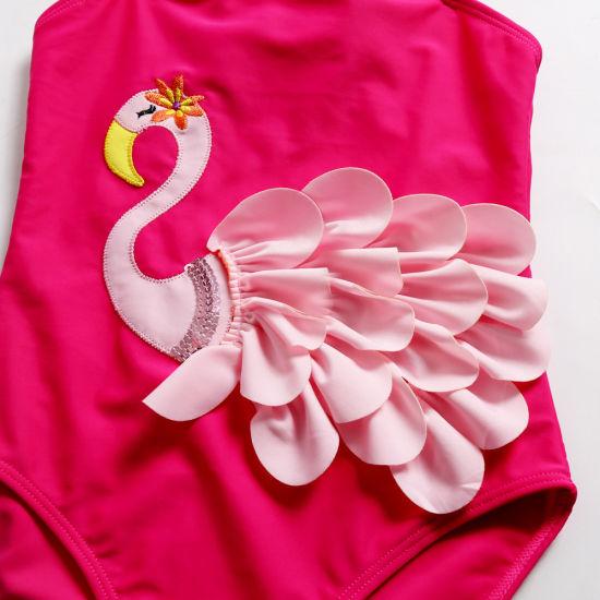 2d148348ff China OEM Cute Swan Flamingo Ruffle One Pieces Swim Wear for ...