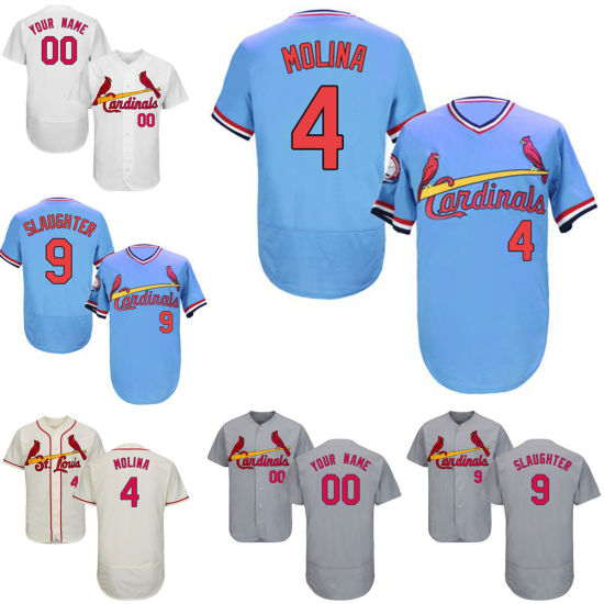 finest selection d8488 2b4b5 St. Louis Cardinals Yadier Molina Enos Slaughter Throwback Baseball Jersey
