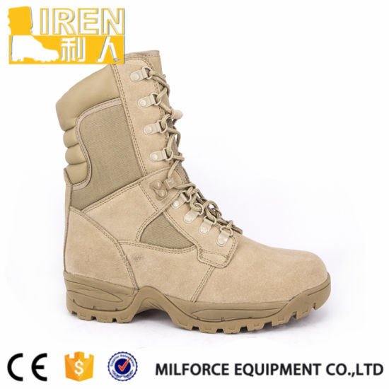 Comfortable Suede Cow Leather Cheap Mens Safety Shoe Military Tactical Desert Boot with Zippers pictures & photos
