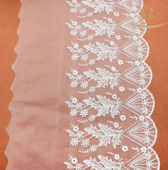African New Design 35cm White Flexible Mesh Lace Trimming /Elastic Lace Wholesale/Lace Elastic pictures & photos
