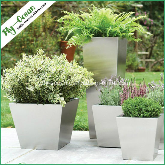 FO-9002 Conical Stainless Steel Shopping Mall Planter Pot