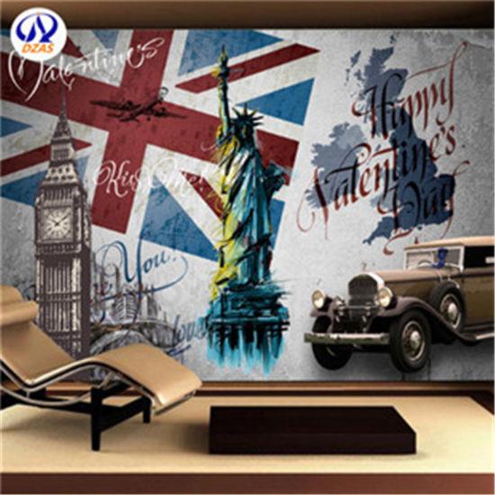 As Mc Custom Hotel Restaurant Bar Background Large Mural Wallpaper Wall Covering Retro European Statue Of Liberty Big Ben Murals
