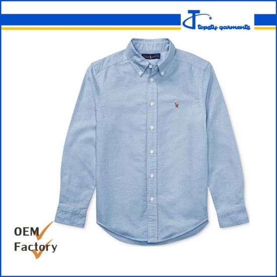 Custom Men's High Quality Sky Blue 100% Cotton Full Sleeve Oxford Shirts