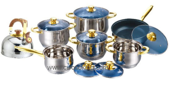 Gold Plated Stainless Steel Cookware Set with Kettle
