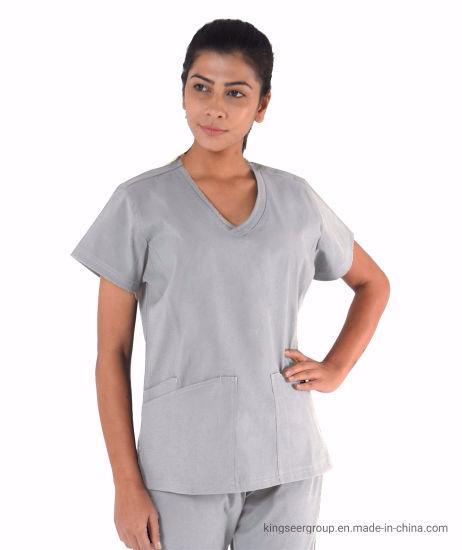 Customized Fashion Doctor Wear Nursing Lady's V Neck Top Scrubs Uniforms