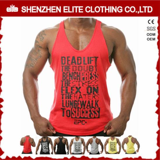 Custom Fitness Bodybuilding 100% Cotton Man Sport Gym Clothing Vest (ELTMBJ-588)