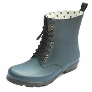 Classical Ladies Rubber Rain Boots with Shoelace